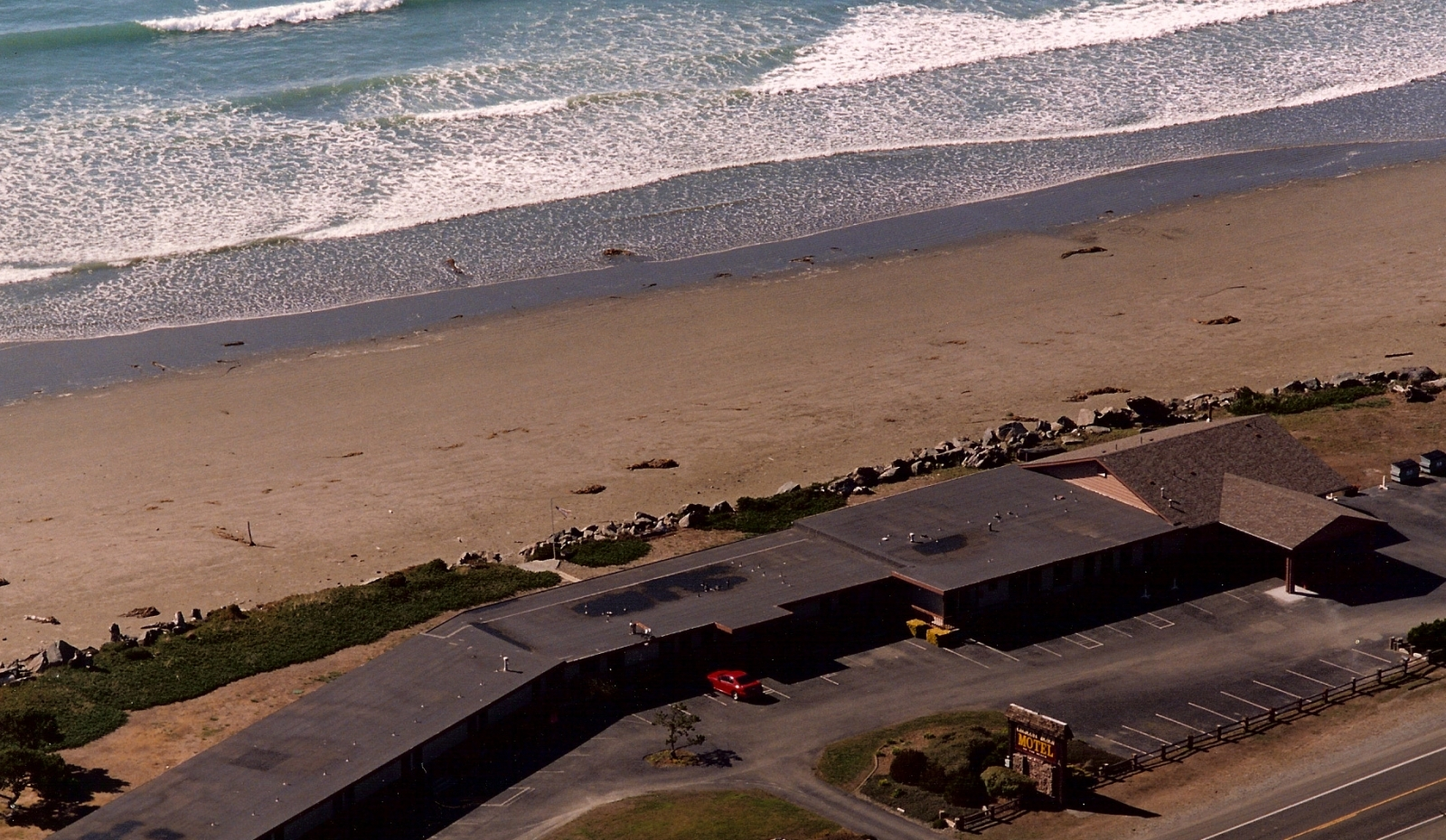 arial view of the motel with ocean